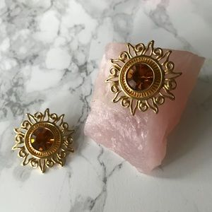 Vintage Golden Sun Clip on Statement Earrings